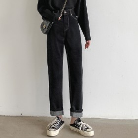 春季宽松牛仔裤女2020高腰直筒黑色老爹阔脚长裤子