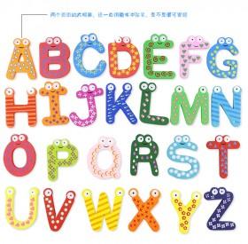 早教益智玩具 磁性英文字母冰箱贴婴幼儿童卡通木质创