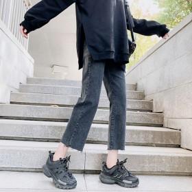 2020春季黑色九分牛仔裤女新款泫雅高腰宽松直筒裤