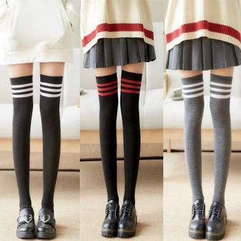 原宿过膝长腿袜日系可爱学生中筒袜韩国显瘦三杠条纹运