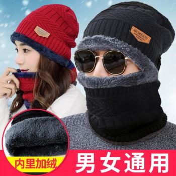 冬季男女帽子毛线帽加绒加厚针织帽套头帽包头帽男帽围