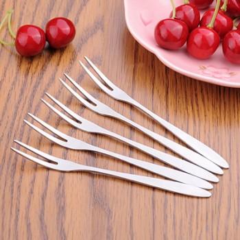 不锈钢水果叉时尚水果签甜品月饼蛋糕小叉点心刀叉