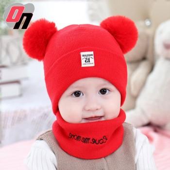 秋冬新品婴儿帽子加厚保暖围脖套装儿童帽子毛线针织防