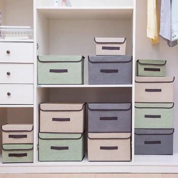 居家布艺折叠收纳箱储物箱带盖防尘便携盒衣物杂物多功