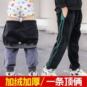 金丝绒男童加绒裤子运动加厚长裤秋冬款中大童宽松版保