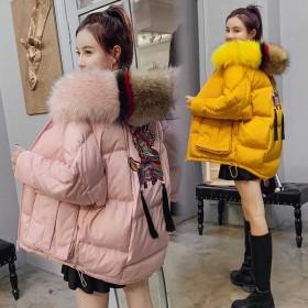 大毛领棉服女中长款加厚棉衣冬新款宽松韩版学生外套