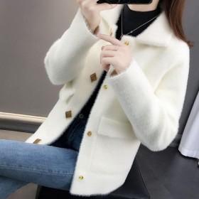 韩版女装外套仿水貂绒宽松毛衣女很仙的针织开衫潮