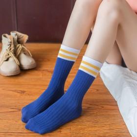 新款无脚跟直筒袜堆堆中筒袜二杠学生袜春秋运动袜子