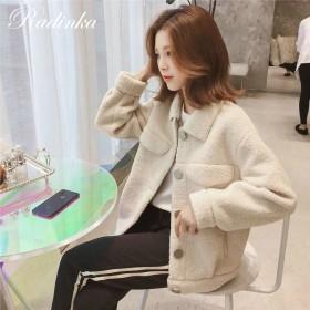 2019冬季新款韩版单排扣小个子短款仿羊羔毛外套女