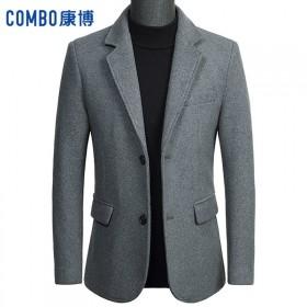 康博毛呢大衣男短款秋冬加厚休闲西服韩版修身呢子外套