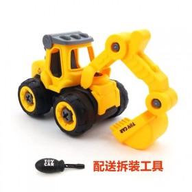 儿童惯性工程车可拆卸益智拼装小男孩挖掘机仿真模型耐