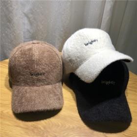 韓版加厚保暖兔毛混紡棒球帽子女秋冬天繡字母時尚潮流