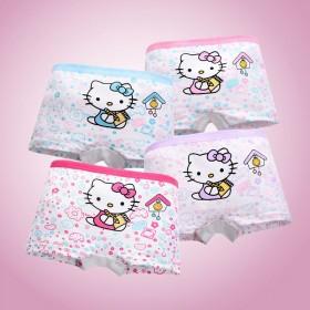 【4條裝純棉】兒童內褲女 女童平角三角內褲女孩大中