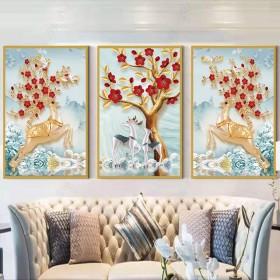 简约卧室餐厅墙画挂画三联画