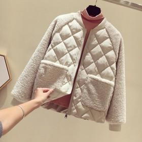 韩版羽绒棉服大码宽松仿羊羔毛加厚棉衣小棉袄外套女