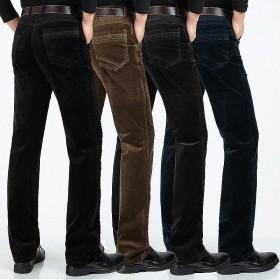 男士登芯灯绒休闲裤弹力纯棉条绒中年宽松直筒长裤子灯