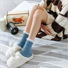 秋冬款纯色麻花珊瑚绒睡眠袜子加厚保暖中筒居家袜简约
