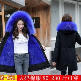 大码派克棉服女胖mm200斤冬季收腰中长款棉衣外套