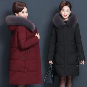 妈妈冬装羽绒棉服中长款外套大衣中老年大码女装加厚保