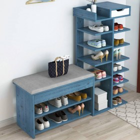 换鞋凳鞋柜多层鞋架门口带储物仿实木收纳凳家用穿鞋凳