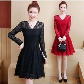 时尚新款连衣裙蕾丝镂空中长款打底收腰修身显瘦网纱裙