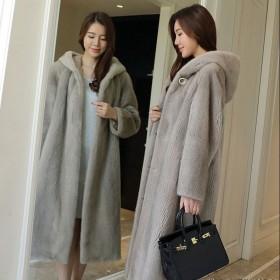 进口貂皮大衣整貂带帽外套水貂皮草女中长款裘皮大衣