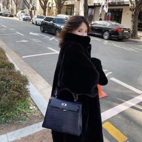 韩版仿水貂绒皮草毛毛宽松外套女中长款貂皮大衣