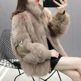 仿皮草外套女短款加厚冬显瘦仿狐狸毛毛绒大衣