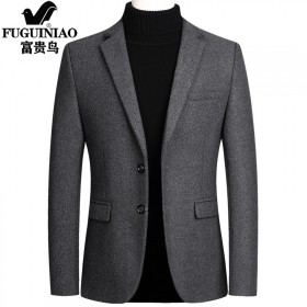 富贵鸟羊毛呢短款小西装男士外套商务夹克西服秋冬季