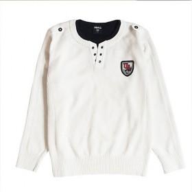 外贸秋冬儿童毛衣男童中大童白色纯棉圆领套头针织衫