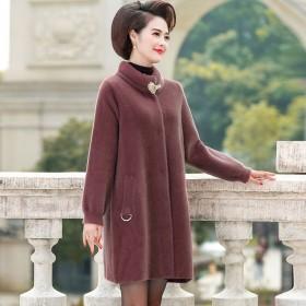 妈妈装仿水貂绒外套中长款秋冬宽松大码气质毛呢大衣女
