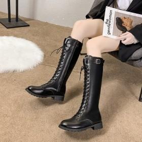 2019冬季新款靴子女鞋前系带交叉绑带中跟粗跟橡胶
