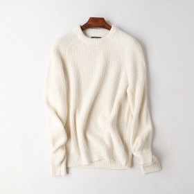 出口单圆领厚实款毛衣秋冬宽松大码男女保暖羊毛衫