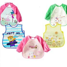 2件装宝宝吃饭罩衣婴儿围兜饭兜儿童画画防水防污防脏