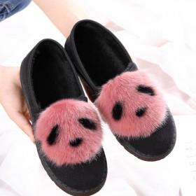 秋冬季新款毛毛鞋棉拖鞋女学生豆豆鞋韩版鞋女鞋保暖