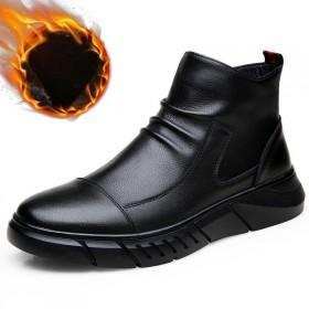 马丁靴棉靴男高帮靴子皮靴男真皮加绒棉鞋皮鞋男
