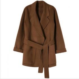 双面绒全羊毛大衣女秋冬韩国短款系带呢子外套