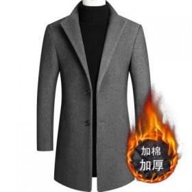 秋冬外套男呢大衣修身羊毛呢男装中长款呢子风衣