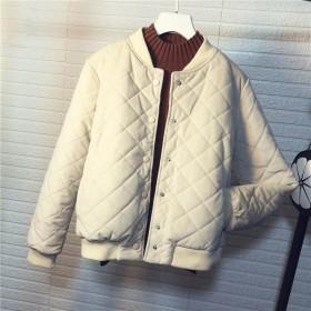 棉衣女2019新款冬季韩版菱格bf棒球短款金丝绒原