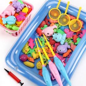 儿童磁性钓鱼玩具池套装小孩戏水捞鱼宝宝小猫鱼竿