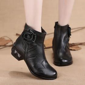 女鞋民族风短靴加绒单靴真皮手工复古牛皮短靴女