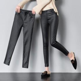 皮裤女秋冬显瘦高腰涂层哑光仿皮加绒加厚外穿打底裤女