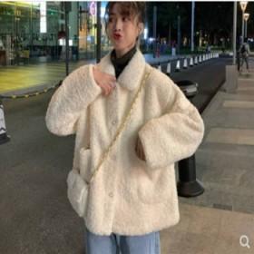 羊羔绒外套女冬季加绒加厚卫衣新款女装学生韩版宽松保