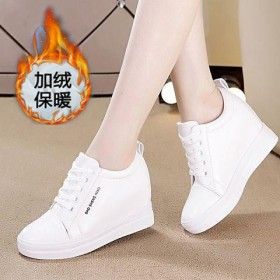 内增高加绒小白鞋女运动鞋女鞋