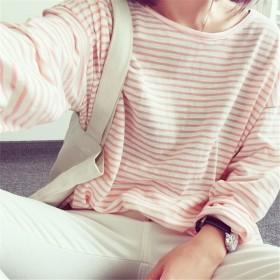 秋冬季新款韩版洋气条纹打底衫长袖宽松半高领t恤内搭