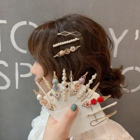 韩版一字夹套装珍珠碎石发夹东大门气质边夹甜美少女心
