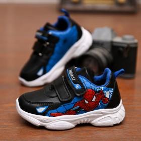 蜘蛛侠运动鞋男儿童11-14岁皮面魔术贴轻便旅游鞋