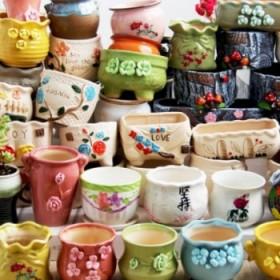 10个 花盆陶瓷绿萝盆栽室内