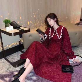 韩版宽松收腰长袖裙子加厚长款