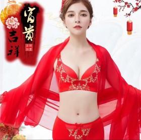 大红色本命年文胸套装无钢圈女性感刺绣上托无痕调